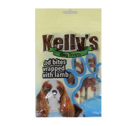 3 יחידות חטיף לכלב kelly's דג קוד עטוף כבש