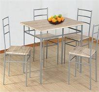 פינת אוכל שילוב עץ ומתכת כולל שולחן ו-4 כיסאות