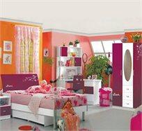 חדר ילדים ונוער מלא מדגם סוזן הכולל מיטה וחצי, שידת מגירות, כסא איכותי, ארון בשילוב מראה וספרייה