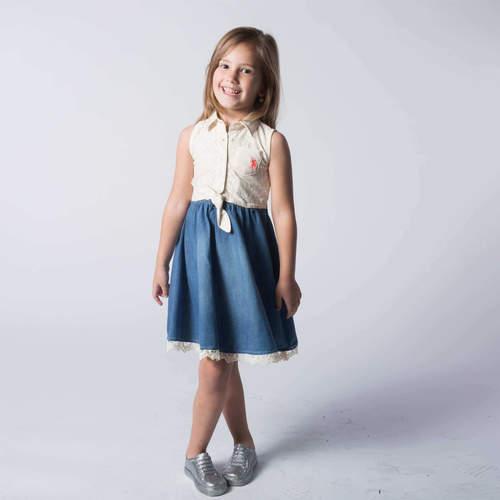 Us Polo יו אס פולו (12-2 שנים) שמלה תחרה שילוב ג'ינס - שמנת