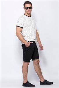 חולצת טי בטקסטורת מלאנג´ מקווקו
