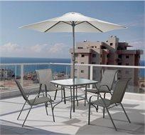סט ישיבה לגינה ולמרפסת הכולל שולחן, כסאות ושמשיה