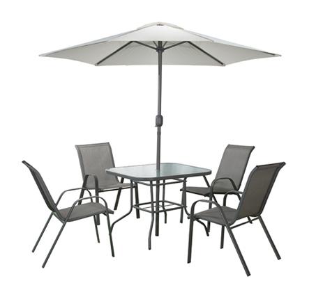 סט פינת אוכל לחצר ולמרפסת הכולל שולחן זכוכית, 4 כסאות ושמשיה גדולה עם מנואלה דגם Tuscany - תמונה 2