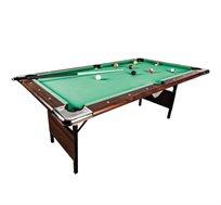 """שולחן ביליארד מתקפל בגודל 7 פיט דגם KING , בעל פלטת עץ בעובי 18 מ""""מ, משטח מרופד ורגליים יציבות"""