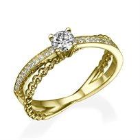 """טבעת יהלומים """"סקיי"""" 0.50 קראט מזהב צהוב"""