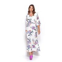 שמלת קיץ ארוכה פרחונית לבנה
