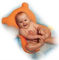 צפטף - כרית אמבטיה לתינוק עם לולאת תליה לייבוש - דובי כתום