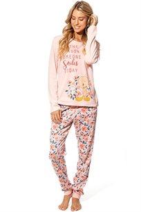 חליפת פנאי אינטרלוק לנשים טוויטי גינה בצבעים אפרסק או קרם
