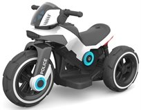 אופנוע Police 6V מפואר עם אפקטים ואור - לבן Twist
