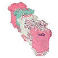 PUMA / פומה 5 בגדי גוף (9-0 חודשים) -ורוד מקושקש