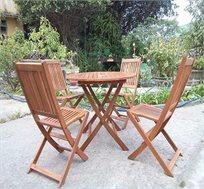מערכת ישיבה מעץ מלא בעלת 2 או 4 כיסאות + שולחן מעץ מבית HomeTown מושלם למרפסת או לגינה!