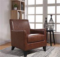 כורסת נוחות בצבע חום דמוי עור לסלון ולפינת ישיבה