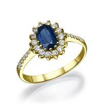 """טבעת יהלומים זהב צהוב """"דיאנה"""" בשיבוץ יהלומי צד"""