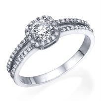 """טבעת יהלומים """"היילו קושיין""""  1.06 קראט זהב לבן"""