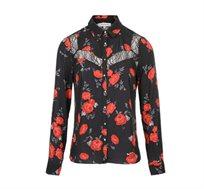 חולצה מכופתרת פרחונית בשילוב תחרה לנשים בצבע שחור/אדום