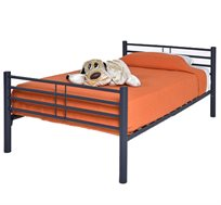 מיטה וחצי לילדים ונוער מעוצבת עשויה מתכת בשילוב עץ עם משענת ראש דגם KALIA