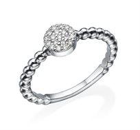 טבעת כדורים זהב 14K משובצת יהלומים במשקל כולל של 0.15 נקודות