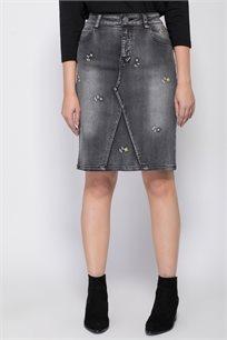 חצאית ג'ינס ישרה עם רקמת פרחים עדינה