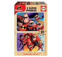 משחק הרכבה לילדים עם איורים בדמויות משפחת סופר על הכולל 2 פאזלים מעץ 25 חלקים EDUCA