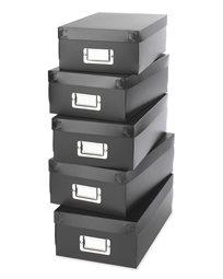 קופסאות אחסון מפלסטיק - שחור - סט של 5