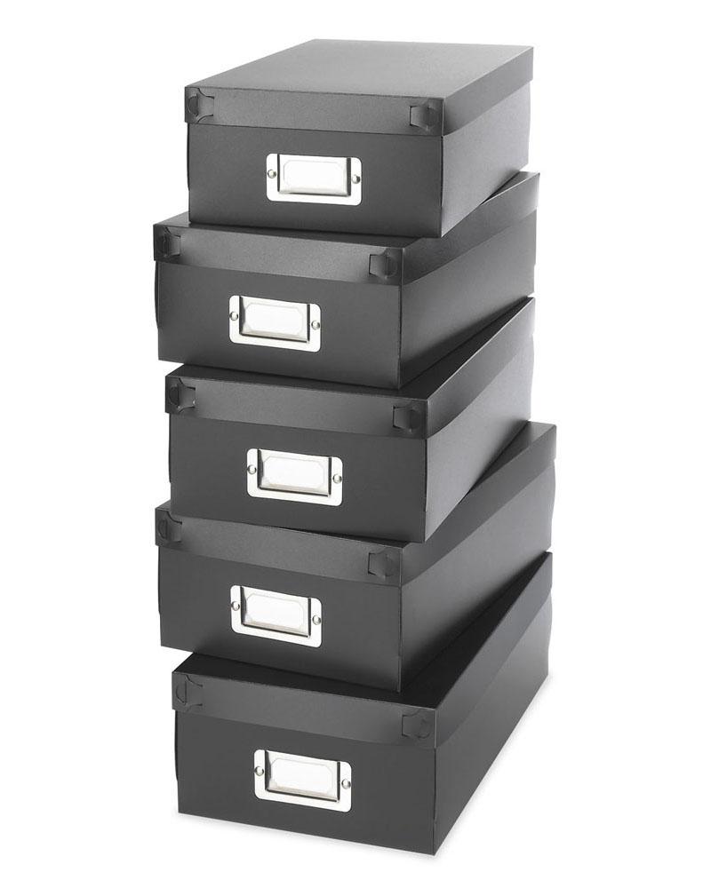 ניס קופסאות אחסון מפלסטיק - שחור - סט של 5 NW-08