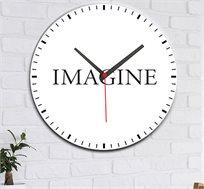 שעון עץ מודרני לבית עם כיתוב לדמיין