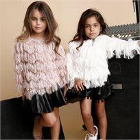 ORO חצאית עור (8-2שנים)- מלמלה שחור