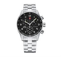 שעון יד כרונוגרף שוויצרי לגבר SWISS MILITARY עשוי פלדת אל חלד וזכוכית ספיר עמיד במים עד 100M