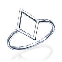 """טבעת זהב לבן """"מעויין"""""""