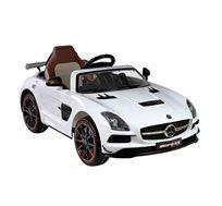 מכונית חשמלית 12V לילדים דגם MERCEDES AMG לבן עם גלגלי גומי ושלט חכם מקודד