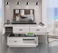 סט מזנון סלוני מודולארי בסגנון מודרני ושולחן תואם בצביעה אפוקסית ייחודית ובציפוי זכוכית- מבית SIRS - משלוח חינם!