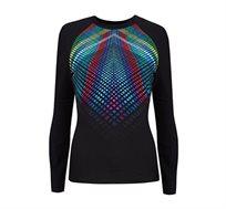 חולצת ראשגארד מקולקציית FREE BY GOTTEX - שחור עם דפוס צבעוני
