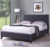 מיטה זוגית בריפוד בד איכותי ורגלי עץ מלא דגם AMIT