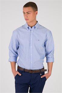 חולצה מכופתרת בשילוב צווארון עם כפתורים Tommy Hilfiger לגברים בצבע תכלת