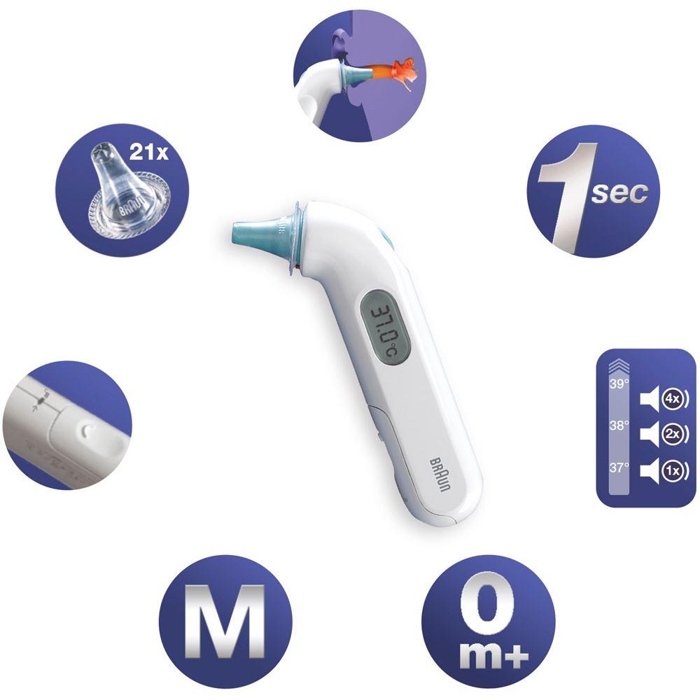 מד חום דיגיטלי לאוזן BRAUN למדידת חום לתינוקות וילדים גם בזמן שינה  + 21 כיסויים חד פעמיים - תמונה 2