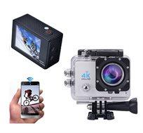 מצלמת וידאו 4K 60fps משולבת לפעילויות אקסטרים ספורט ופנאי כולל שליטה מלאה מהסמארטפון  - משלוח חינם