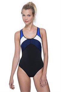 בגד-ים שלם עם כתפיות רחבות Free Sport לאישה בצבע שחור/כחול