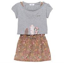 BOSS / בוס סט שמלה וחולצה בנות - פרחונית