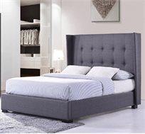 מיטה זוגית מרופדת בד בעיצוב אלגנטי עם ראש מיטה גבוה דגם יובל HOME DECOR
