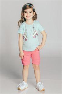 חליפת טריקו בהדפס גלגיליות לבנות Kiwi בצבע מנטה/ורוד