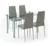 פינת אוכל המשלבת מתכת וזכוכית כוללת שולחן ו-4 כסאות דגם אמסטרדם Homax