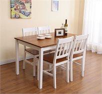 שולחן פינת אוכל עם 4 כיסאות מעץ מלא בעיצוב אלגנטי