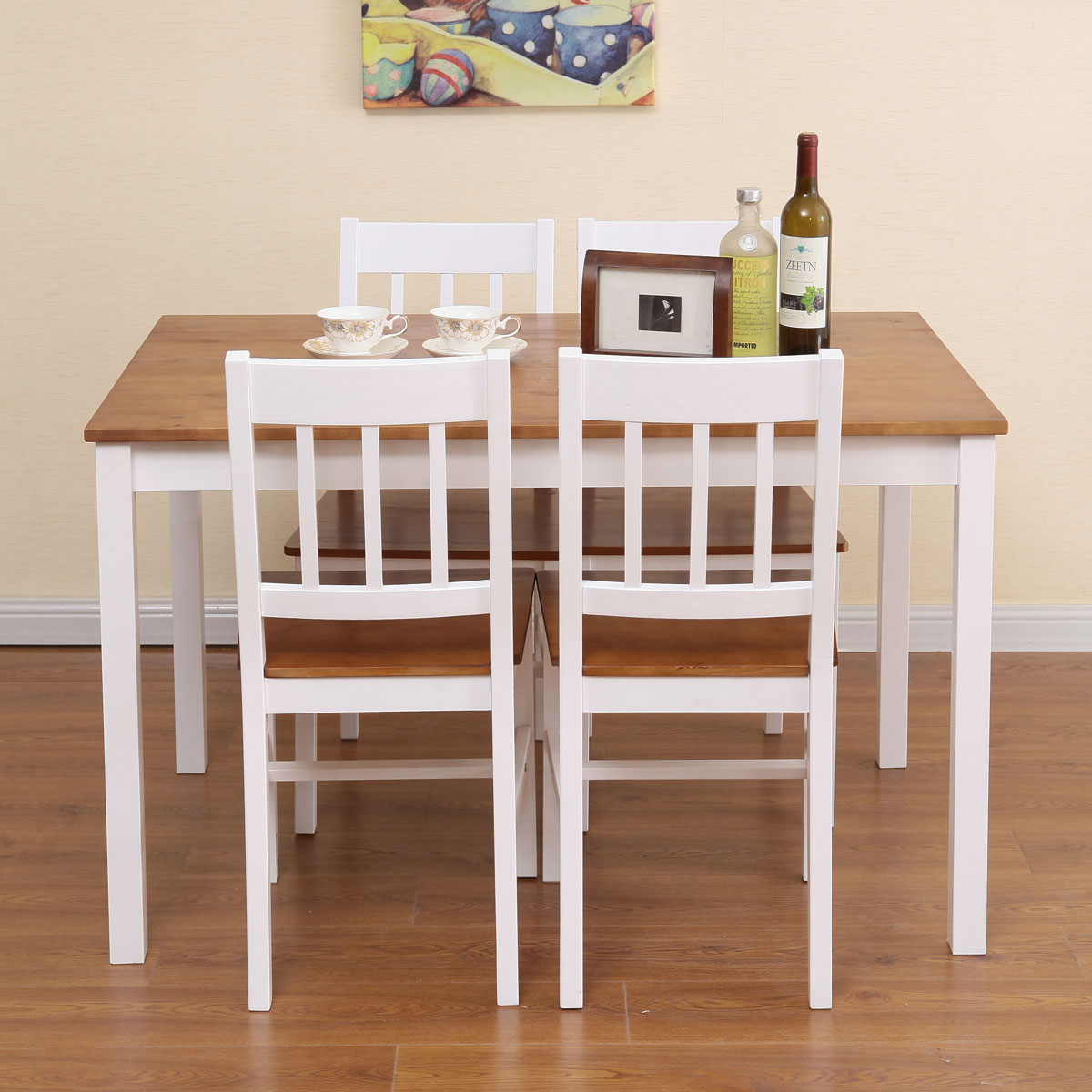 שולחן פינת אוכל עם 4 כיסאות מעץ מלא בעיצוב אלגנטי - תמונה 3