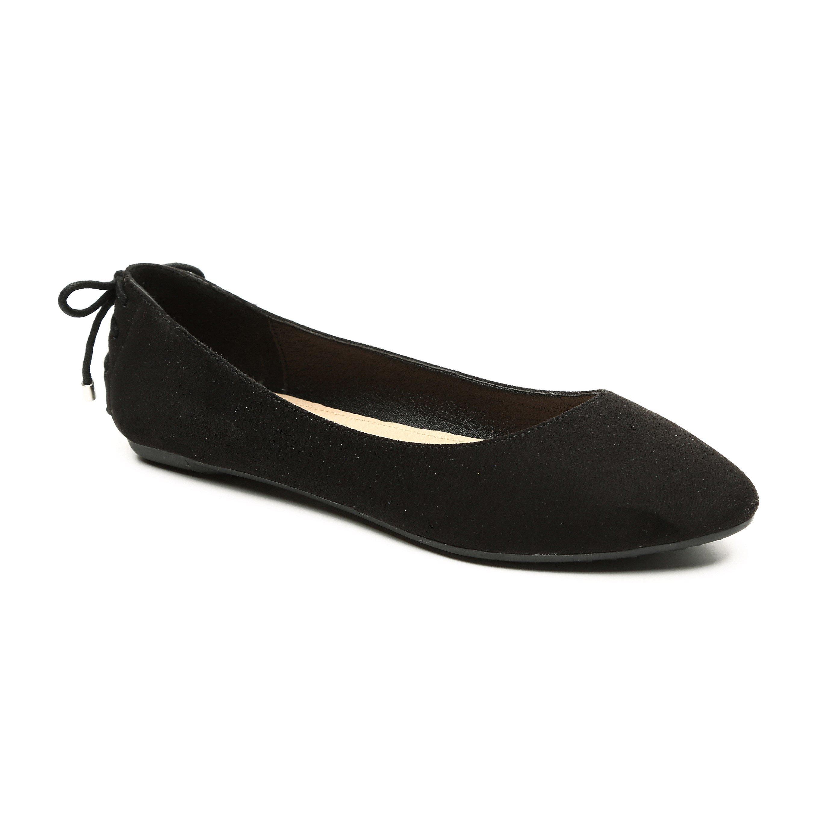 Seventy Nine - נעלי בלרינה במראה קטיפה בצבע שחור בשילוב שרוך אחורי