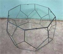 סט 2 שולחנות גאומטריים ב2 גדלים זכוכית שקופה עם ברזל בצבע כסוף