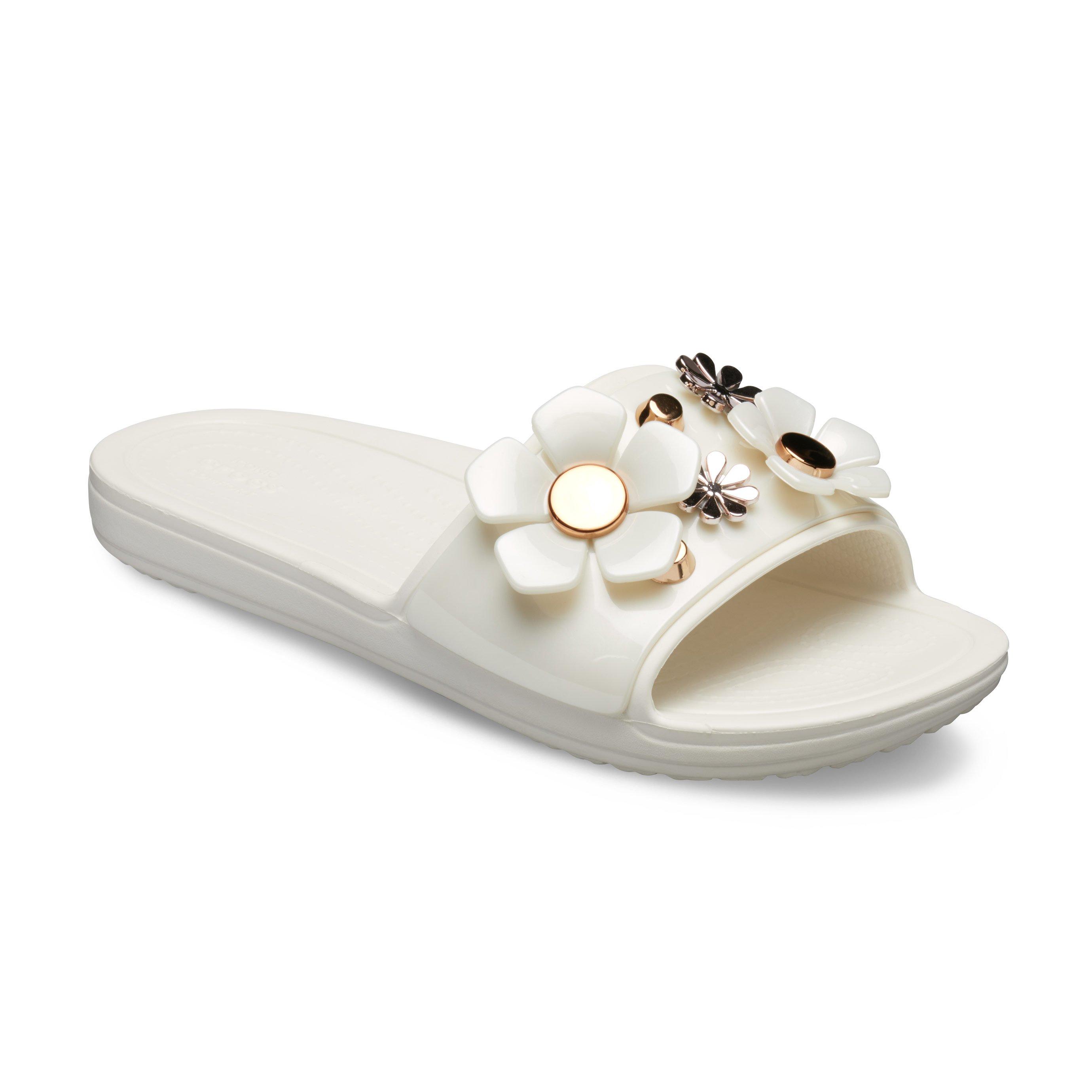 Crocssloane Metal Blooms Sld W - כפכף בעיטור פרחים בצבע לבןזהב