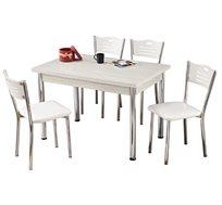 סט פינת אוכל הכולל שולחן בגווני עץ שונים ו-4 כיסאות תאומים עם ריפוד Planero
