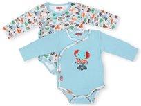 זוג בגדי גוף לתינוק כותנה טריקו 0-3 חודשים - תכלת