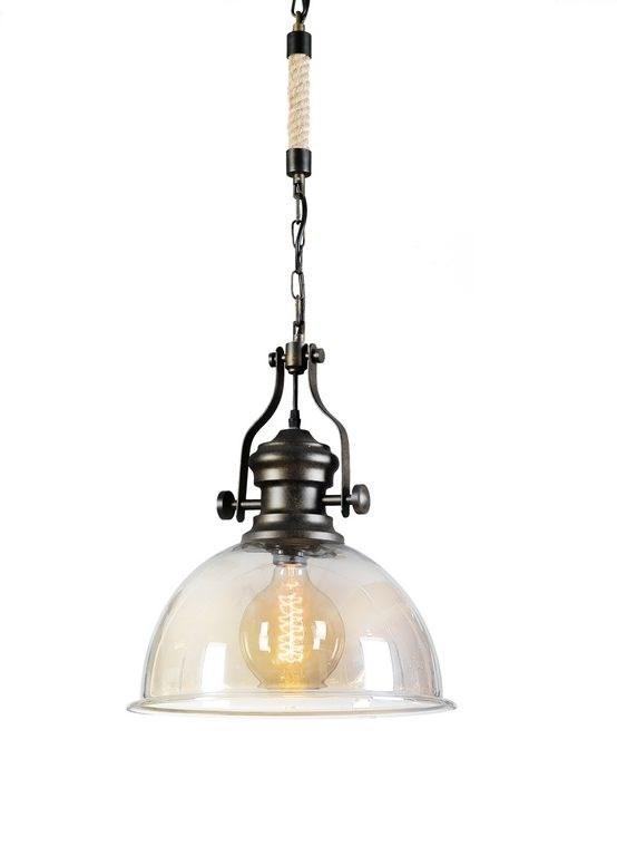 מנורת תליה גולדה משלבת זכוכית ומתכת ביתילי