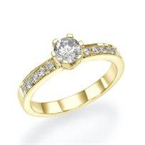 """טבעת אירוסין זהב צהוב """"ורוניק"""" 0.65 קראט"""